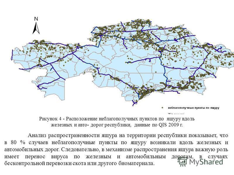 Рисунок 4 - Расположение неблагополучных пунктов по ящуру вдоль железных и авто- дорог республики, данные по QIS 2009 г. Анализ распространенности ящура на территории республики показывает, что в 80 % случаев неблагополучные пункты по ящуру возникали