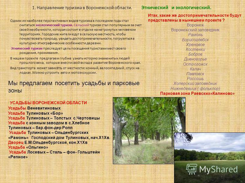1. Направление туризма в Воронежской области. Этнический и экологический. Одним из наиболее перспективных видов туризма в последние годы стал считаться экологический туризм. Сельский туризм стал популярным за счет своей необычности, которая состоит в