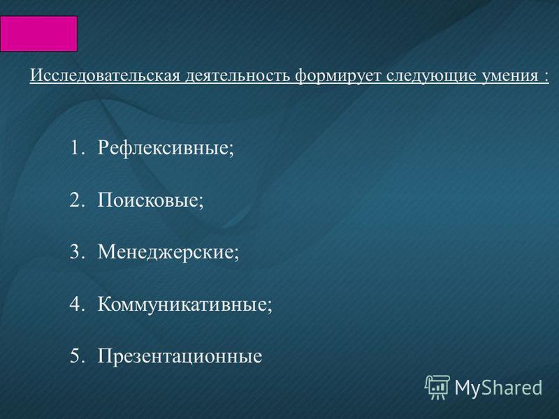 Исследовательская деятельность формирует следующие умения : 1.Рефлексивные; 2.Поисковые; 3.Менеджерские; 4.Коммуникативные; 5.Презентационные