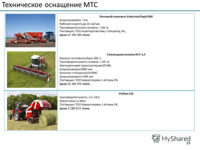 Посевной комплекс Vaderstad Rapid 800 Ширина захвата – 8 м Рабочая скорость до 22 км/час Производительность в смену – 120 га Поставщик: ТОО Агроперспектива, г.Кокшетау, РК, Цена: 37 290 586 тенге. Самоходная косилка КСУ-1,0 Емкость топливного бака 34