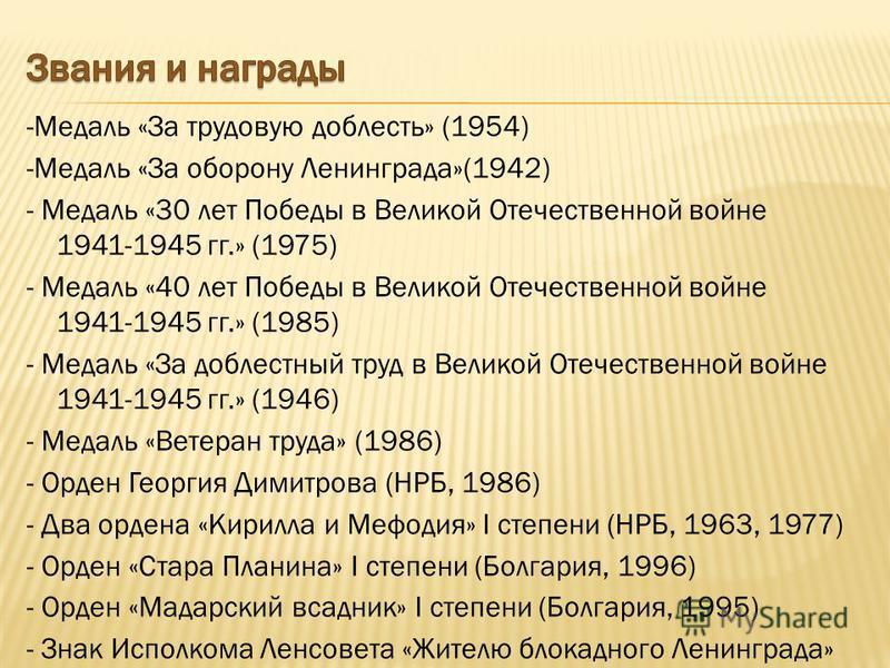 -Медаль «За трудовую доблесть» (1954) -Медаль «За оборону Ленинграда»(1942) - Медаль «30 лет Победы в Великой Отечественной войне 1941-1945 гг.» (1975) - Медаль «40 лет Победы в Великой Отечественной войне 1941-1945 гг.» (1985) - Медаль «За доблестны