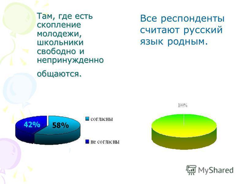 Там, где есть скопление молодежи, школьники свободно и непринужденно общаются. Все респонденты считают русский язык родным.