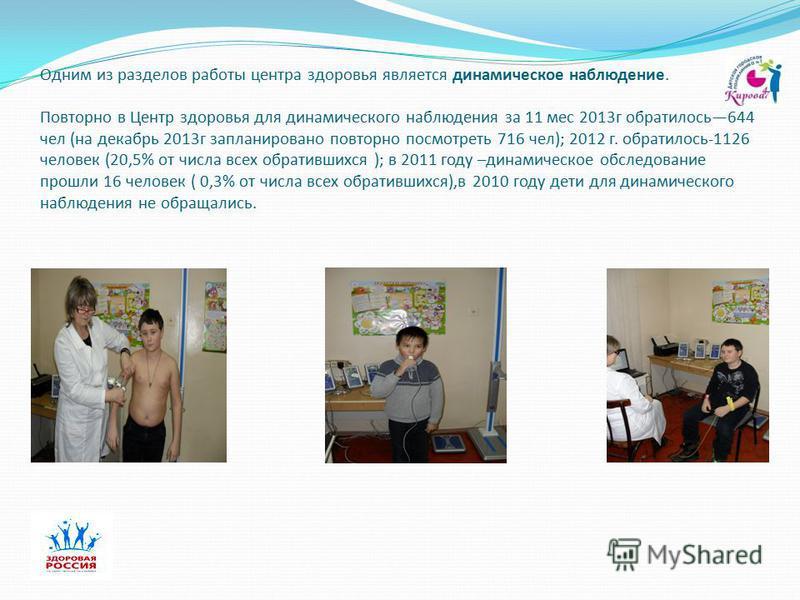 Одним из разделов работы центра здоровья является динамическое наблюдение. Повторно в Центр здоровья для динамического наблюдения за 11 мес 2013 г обратилось 644 чел (на декабрь 2013 г запланировано повторно посмотреть 716 чел); 2012 г. обратилось-11