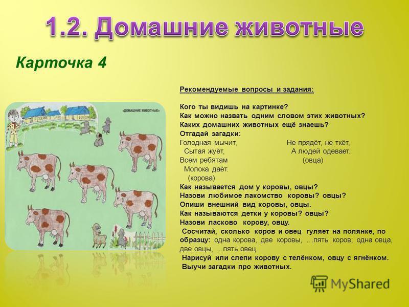 Карточка 4 Рекомендуемые вопросы и задания: Кого ты видишь на картинке? Как можно назвать одним словом этих животных? Каких домашних животных ещё знаешь? Отгадай загадки: Голодная мычит, Не прядёт, не ткёт, Сытая жуёт, А людей одевает. Всем ребятам (