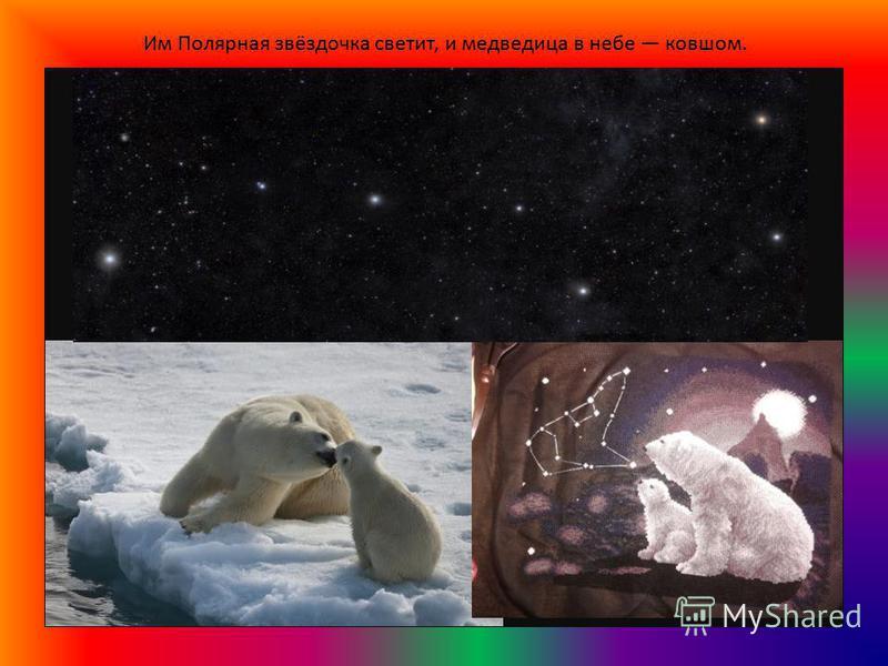 Им Полярная звёздочка светит, и медведица в небе ковшом.