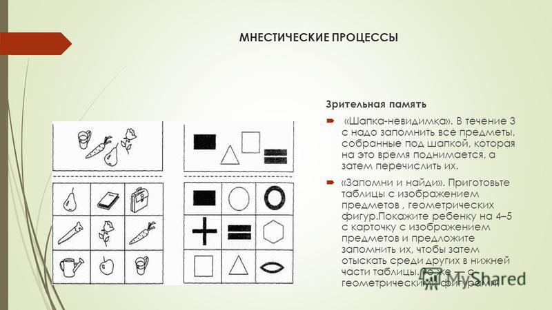 МНЕСТИЧЕСКИЕ ПРОЦЕССЫ Зрительная память «Шапка-невидимка». В течение 3 с надо запомнить все предметы, собранные под шапкой, которая на это время поднимается, а затем перечислить их. «Запомни и найди». Приготовьте таблицы с изображением предметов, гео