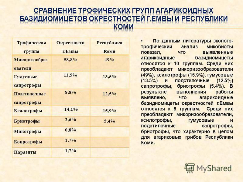 Трофическая группа Окрестности г.Емвы Республика Коми Микоризообраз ователи 58,8%49% Гумусовые сапротрофные 11,5% 13,5% Подстилочные сапротрофные 8,8% 12,5% Ксилотрофы 14,1% 15,9% Бриотрофы 2,6% 5,4% Микотрофы 0,8% Копротрофы 1,7% Паразиты 1,7% По да