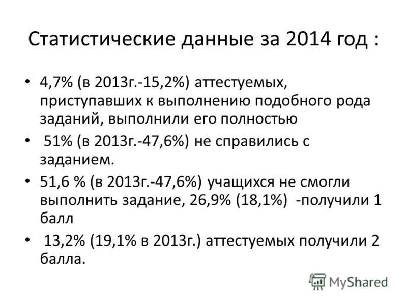 Статистические данные за 2014 год : 4,7% (в 2013 г.-15,2%) аттестуемых, приступавших к выполнению подобного рода заданий, выполнили его полностью 51% (в 2013 г.-47,6%) не справились с заданием. 51,6 % (в 2013 г.-47,6%) учащихся не смогли выполнить за