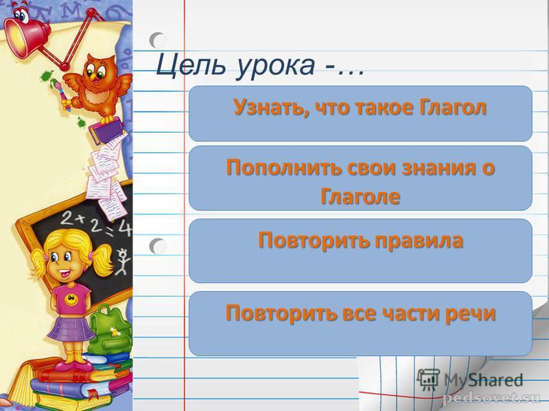 Цель урока -… Узнать, что такое Глагол Пополнить свои знания о Глаголе Повторить правила Повторить все части речи