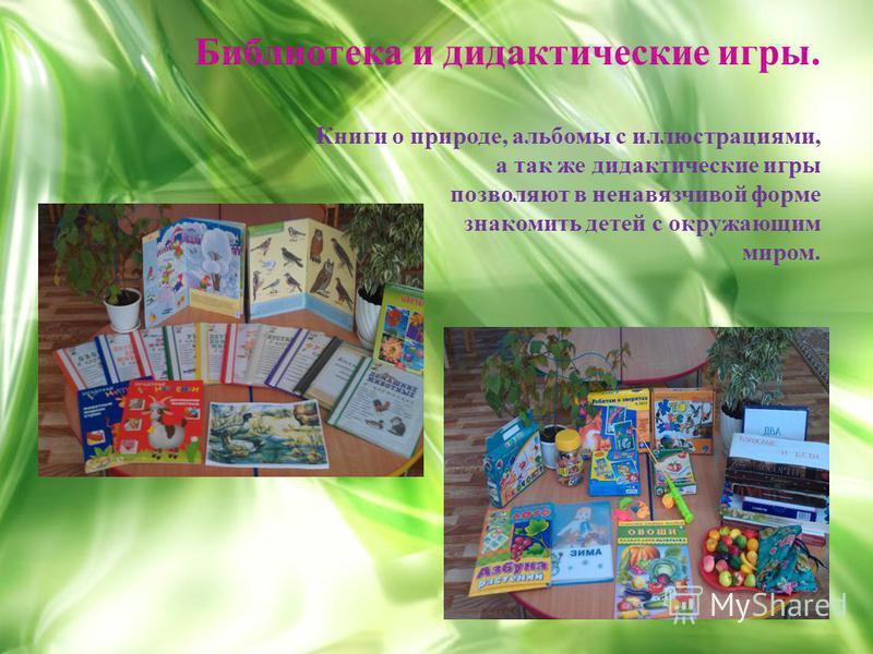Библиотека и дидактические игры. Книги о природе, альбомы с иллюстрациями, а так же дидактические игры позволяют в ненавязчивой форме знакомить детей с окружающим миром.
