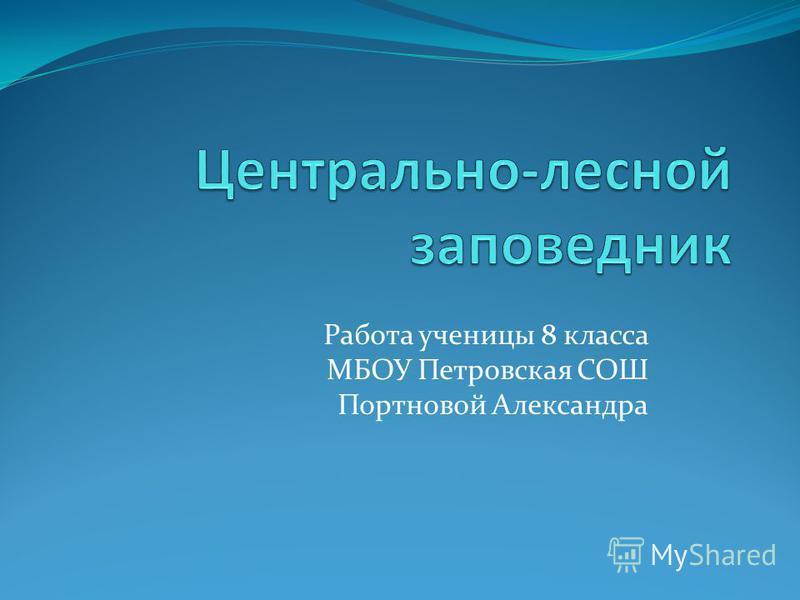 Работа ученицы 8 класса МБОУ Петровская СОШ Портновой Александра