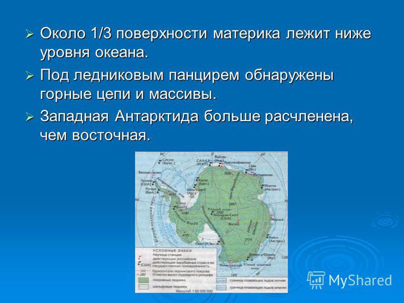 Около 1/3 поверхности материка лежит ниже уровня океана. Около 1/3 поверхности материка лежит ниже уровня океана. Под ледниковым панцирем обнаружены горные цепи и массивы. Под ледниковым панцирем обнаружены горные цепи и массивы. Западная Антарктида