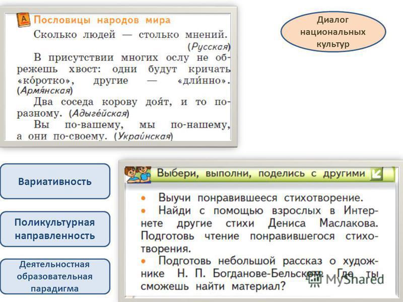 Диалог национальных культур Деятельностная образовательная парадигма Вариативность Поликультурная направленность