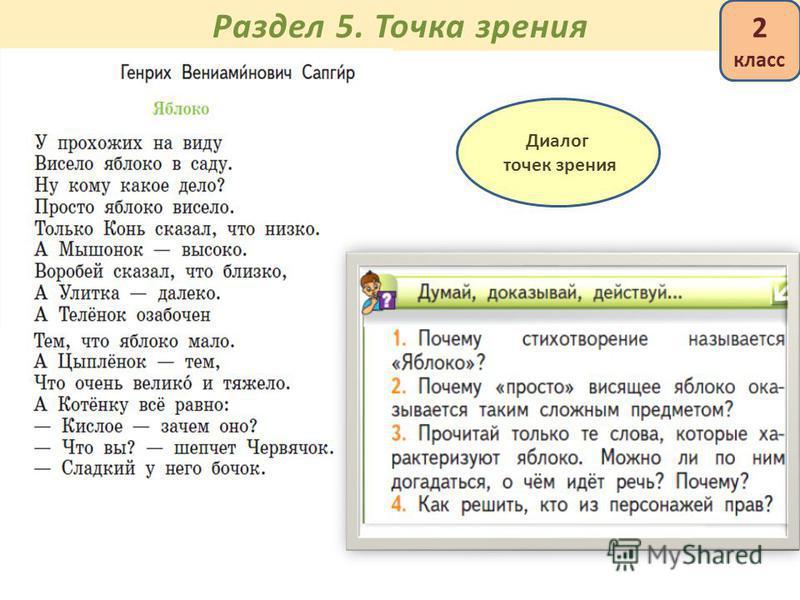 Раздел 5. Точка зрения Диалог точек зрения 2 класс