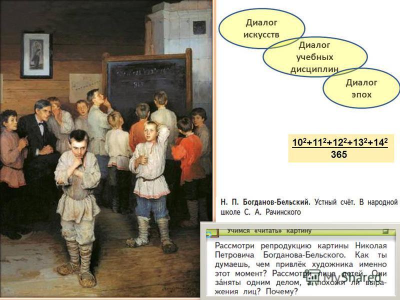 10 2 +11 2 +12 2 +13 2 +14 2 365 Диалог искусств Диалог учебных дисциплин Диалог эпох