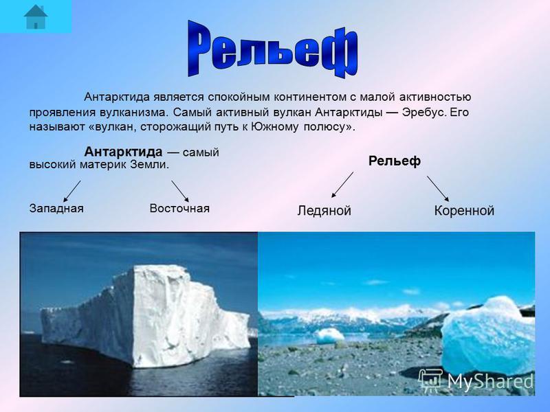 Антарктида самый высокий материк Земли. Западная Восточная Рельеф Ледяной Коренной Антарктида является спокойным континентом с малой активностью проявления вулканизма. Самый активный вулкан Антарктиды Эребус. Его называют «вулкан, сторожащий путь к Ю