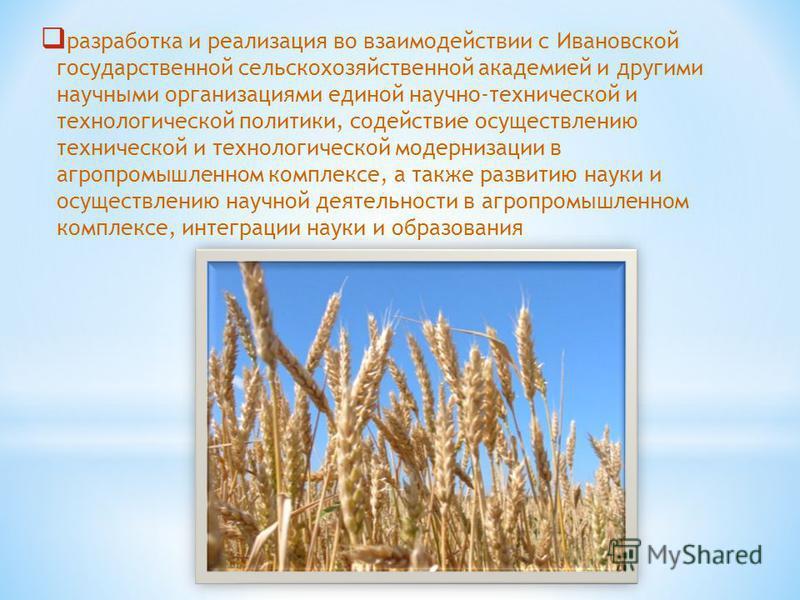 разработка и реализация во взаимодействии с Ивановской государственной сельскохозяйственной академией и другими научными организациями единой научно-технической и технологической политики, содействие осуществлению технической и технологической модерн