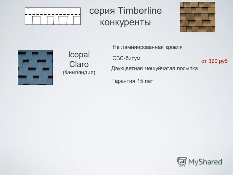 серия Timberline конкуренты Icopal Claro (Финляндия) Не ламинированная кровля Двухцветная чешуйчатая посыпка от 320 руб. СБС-битум Гарантия 15 лет