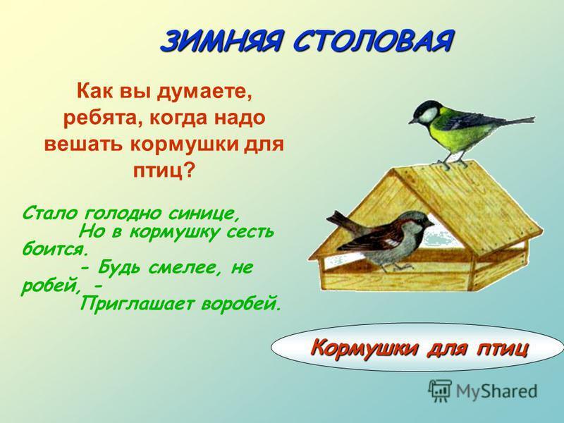 ЗИМНЯЯ СТОЛОВАЯ Кормушки для птиц Стало голодно синице, Но в кормушку сесть боится. - Будь смелее, не робей, - Приглашает воробей. Как вы думаете, ребята, когда надо вешать кормушки для птиц?