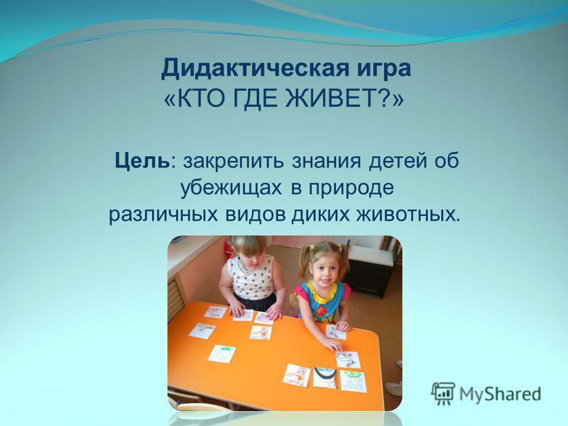 Дидактическая игра «КТО ГДЕ ЖИВЕТ?» Цель: закрепить знания детей об убежищах в природе различных видов диких животных.