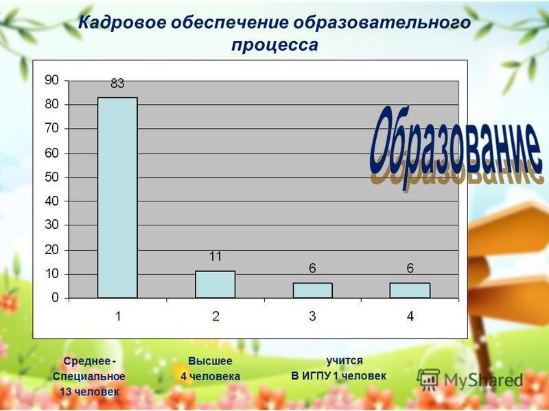 Кадровое обеспечение образовательного процесса Среднее - Специальное 13 человек Высшее 4 человека учится В ИГПУ 1 человек