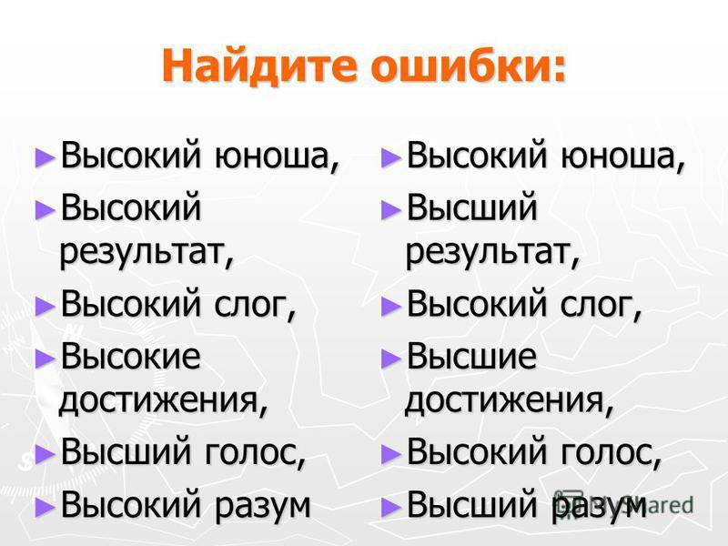Найдите ошибки: Высокий юноша, Высокий юноша, Высокий результат, Высокий результат, Высокий слог, Высокий слог, Высокие достижения, Высокие достижения, Высший голос, Высший голос, Высокий разум Высокий разум Высокий юноша, Высший результат, Высокий с