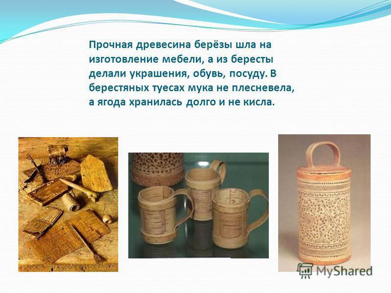 Прочная древесина берёзы шла на изготовление мебели, а из бересты делали украшения, обувь, посуду. В берестяных туесах мука не плесневела, а ягода хранилась долго и не кисла.