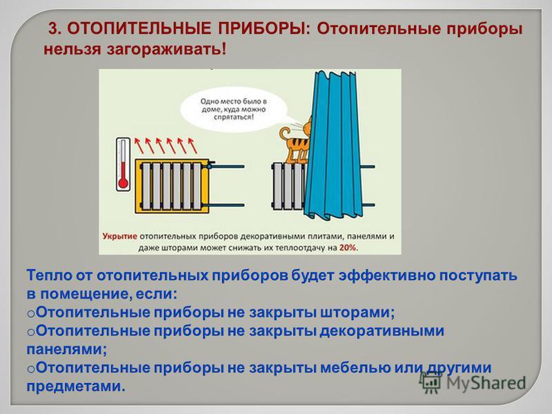 3. ОТОПИТЕЛЬНЫЕ ПРИБОРЫ: Отопительные приборы нельзя загораживать!