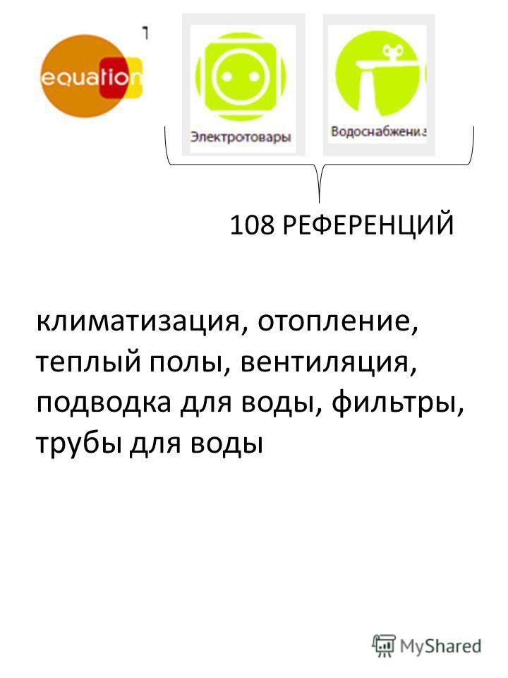 климатизация, отопление, теплый полы, вентиляция, подводка для воды, фильтры, трубы для воды 108 РЕФЕРЕНЦИЙ