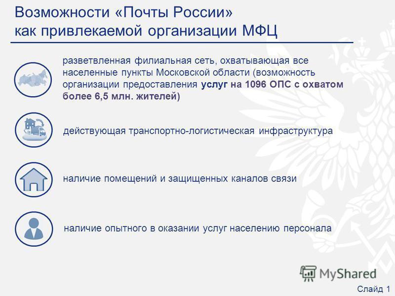 наличие опытного в оказании услуг населению персонала Возможности «Почты России» как привлекаемой организации МФЦ разветвленная филиальная сеть, охватывающая все населенные пункты Московской области (возможность организации предоставления услуг на 10