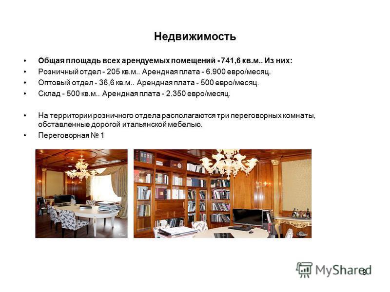 9 Недвижимость Общая площадь всех арендуемых помещений - 741,6 кв.м.. Из них: Розничный отдел - 205 кв.м.. Арендная плата - 6.900 евро/месяц. Оптовый отдел - 36,6 кв.м.. Арендная плата - 500 евро/месяц. Склад - 500 кв.м.. Арендная плата - 2.350 евро/