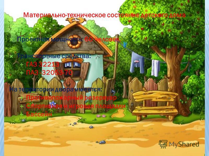 Проектная мощность: 60 человек. Транспортные средства: ГАЗ 32213 ПАЗ -32053-70 На территории двора имеется: Противопожарный резервуар Спортивная и игровая площадки Бассейн Материально-техническое состояние детского дома