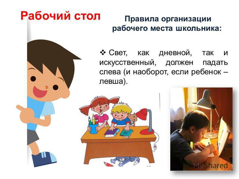 Правила организации рабочего места школьника: Рабочий стол Свет, как дневной, так и искусственный, должен падать слева (и наоборот, если ребенок – левша).