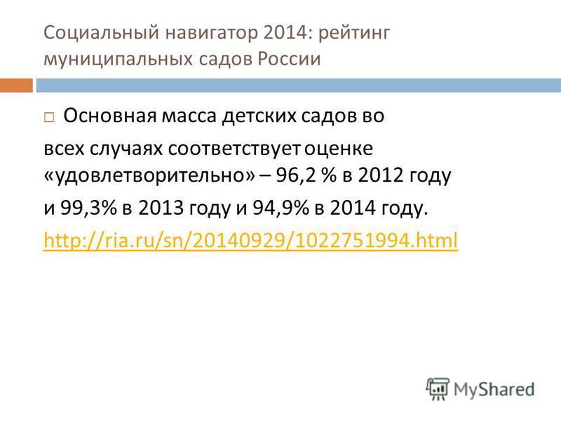 Социальный навигатор 2014: рейтинг муниципальных садов России Основная масса детских садов во всех случаях соответствует оценке « удовлетворительно » – 96,2 % в 2012 году и 99,3% в 2013 году и 94,9% в 2014 году. http://ria.ru/sn/20140929/1022751994.h