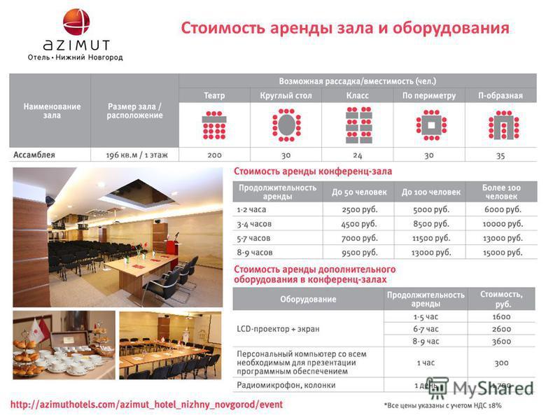 Стоимость аренды зала и оборудования