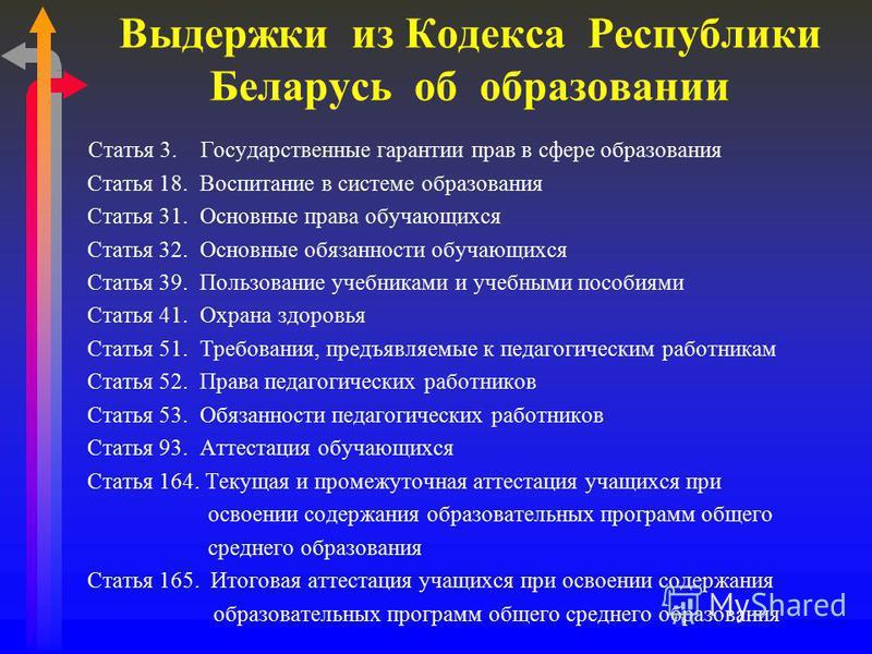 Выдержки из Кодекса Республики Беларусь об образовании Статья 3. Государственные гарантии прав в сфере образования Статья 18. Воспитание в системе образования Статья 31. Основные права обучающихся Статья 32. Основные обязанности обучающихся Статья 39
