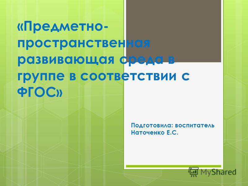 «Предметно- пространственная развивающая среда в группе в соответствии с ФГОС» Подготовила: воспитатель Наточенко Е.С.