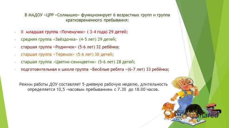 В МАДОУ «ЦРР «Солнышко» функционирует 6 возрастных групп и группа кратковременного пребывания: - II младшая группа «Почемучки» ( 3-4 года) 29 детей; - средняя группа «Звёздочка» (4-5 лет) 29 детей; - старшая группа «Родничок» (5-6 лет) 32 ребёнка; -