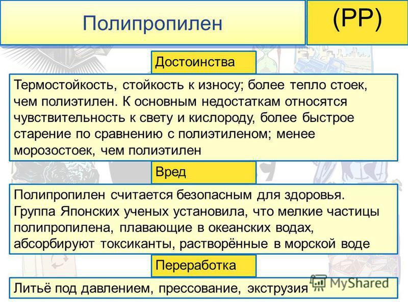 Полипропилен (PP) Термостойкость, стойкость к износу; более тепло стоек, чем полиэтилен. К основным недостаткам относятся чувствительность к свету и кислороду, более быстрое старение по сравнению с полиэтиленом; менее морозостоек, чем полиэтилен Поли