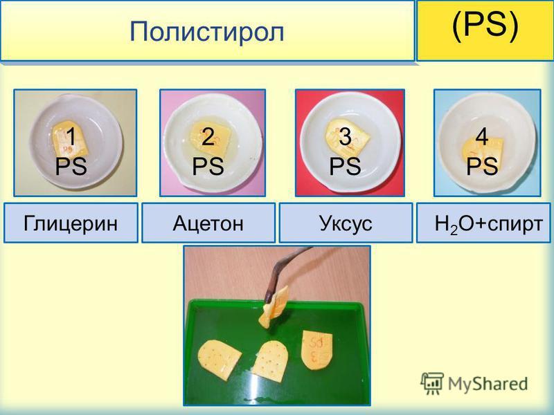 Полистирол (PS) Глицерин АцетонУксус H 2 O+спирт 1 PS 2 PS 3 PS 4 PS