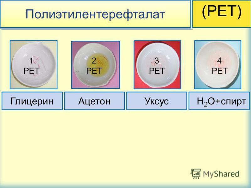 Полиэтилентерефталат (PET) Глицерин АцетонУксус H 2 O+спирт 1 PET 3 PET 4 PET 2 PET