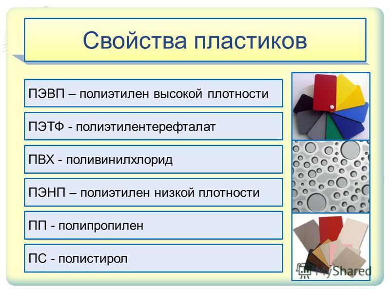 Свойства пластиков ПЭВП – полиэтилен высокой плотности ПЭТФ - полиэтилентерефталат ПВХ - поливинилхлорид ПЭНП – полиэтилен низкой плотности ПП - полипропилен ПС - полистирол