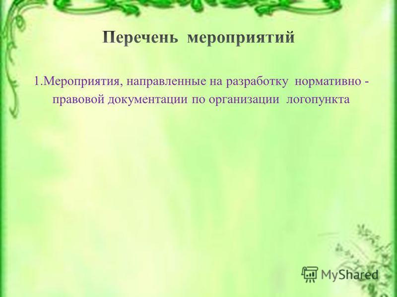 1.Мероприятия, направленные на разработку нормативно - правовой документации по организации логопункта