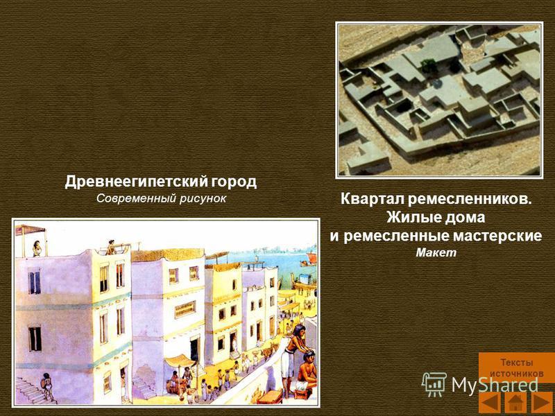 Квартал ремесленников. Жилые дома и ремесленные мастерские Макет Древнеегипетский город Современный рисунок Тексты источников