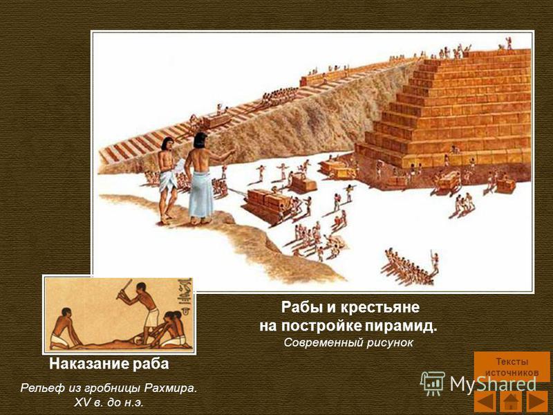 Рабы и крестьяне на постройке пирамид. Современный рисунок Наказание раба Рельеф из гробницы Рахмира. XV в. до н.э. Тексты источников