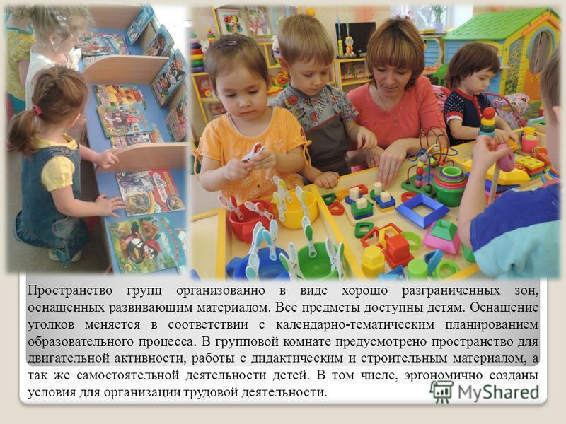 Пространство групп организованно в виде хорошо разграниченных зон, оснащенных развивающим материалом. Все предметы доступны детям. Оснащение уголков меняется в соответствии с календарно-тематическим планированием образовательного процесса. В группово