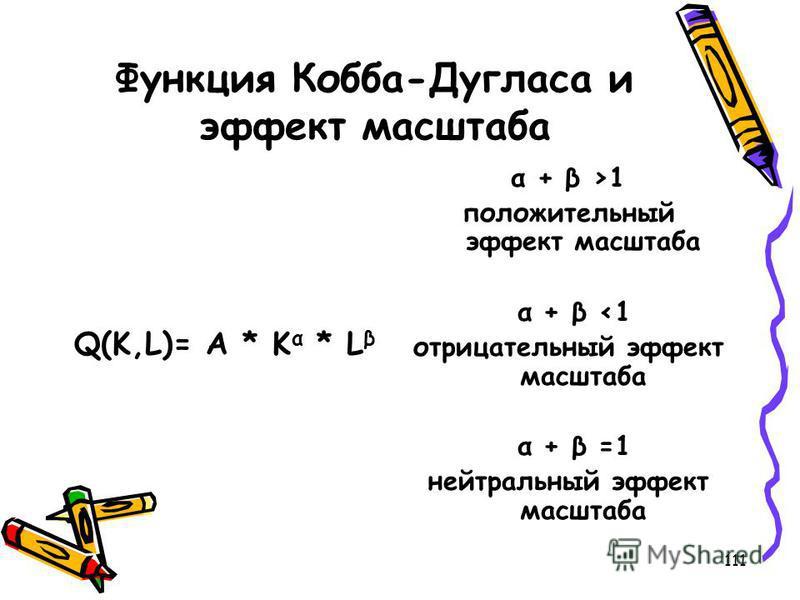 111 Функция Кобба-Дугласа и эффект масштаба Q(K,L)= A * K α * L β α + β >1 положительный эффект масштаба α + β