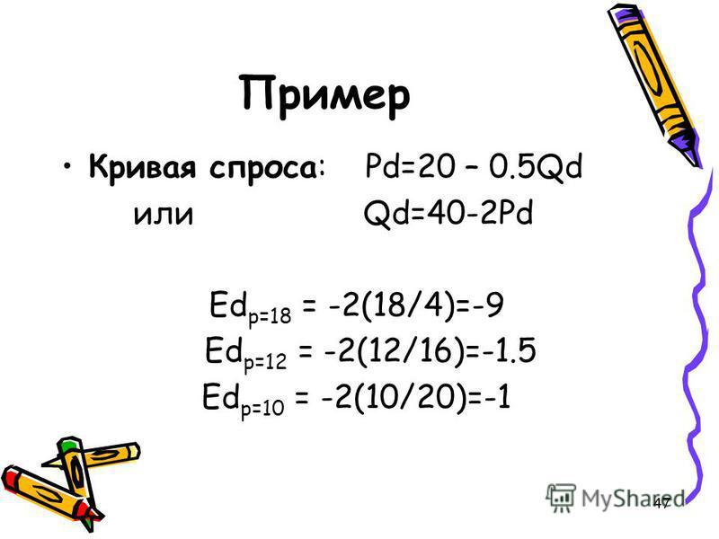 47 Пример Кривая спроса: Рd=20 – 0.5Qd или Qd=40-2Pd Еd p=18 = -2(18/4)=-9 Еd p=12 = -2(12/16)=-1.5 Еd p=10 = -2(10/20)=-1