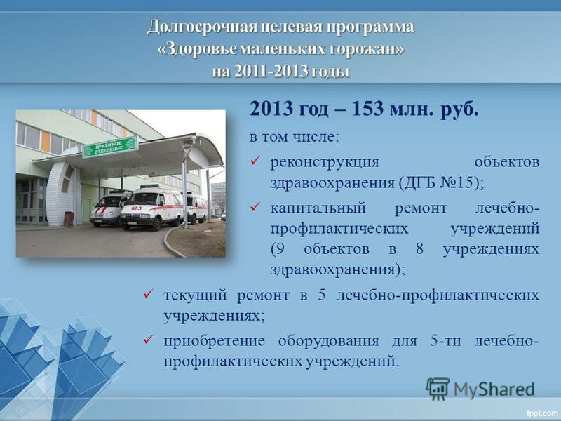 2013 год – 153 млн. руб. в том числе: реконструкция объектов здравоохранения (ДГБ 15); капитальный ремонт лечебно- профилактических учреждений (9 объектов в 8 учреждениях здравоохранения); текущий ремонт в 5 лечебно-профилактических учреждениях; прио