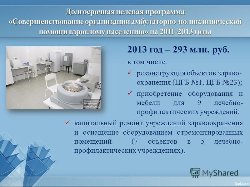 2013 год – 293 млн. руб. в том числе: реконструкция объектов здраво- охранения (ЦГБ 1, ЦГБ 23); приобретение оборудования и мебели для 9 лечебно- профилактических учреждений; капитальный ремонт учреждений здравоохранения и оснащение оборудованием отр